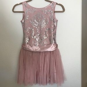 Girls pink dress with silver sequins